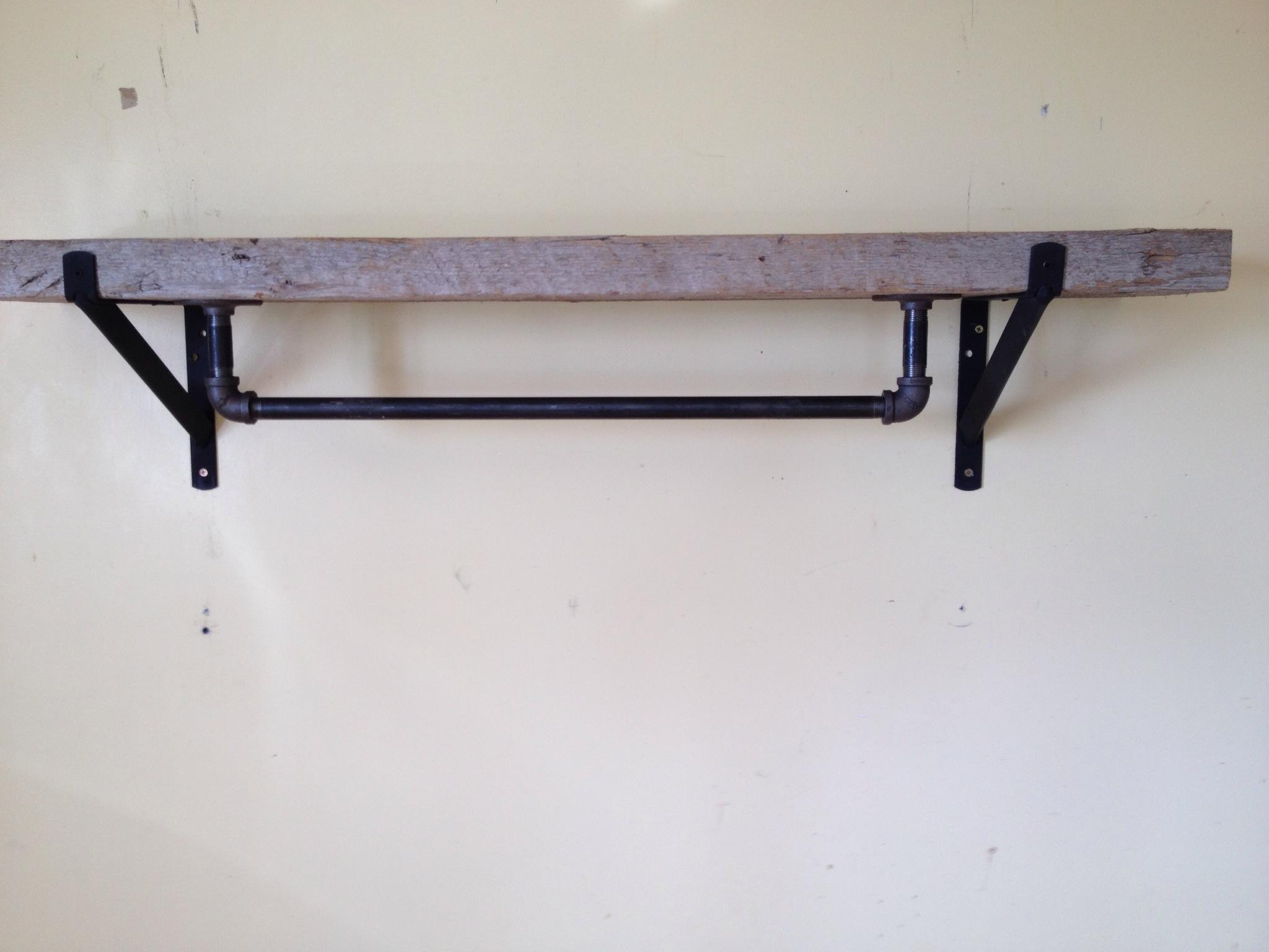 Industrial reclaimed barn plank pot rack shelf hill for Reclaimed wood pot rack