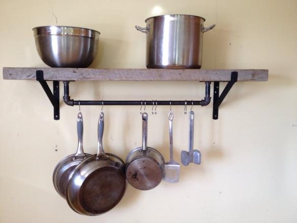 Industrial reclaimed barn plank pot rack shelf hill painting for Reclaimed wood pot rack